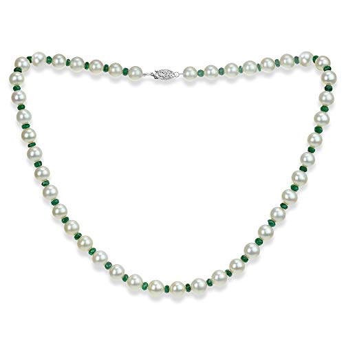 (Emerald Green Gemstone Necklace Freshwater Cultured White Pearl Necklace 14K White Gold Wedding Jewelry)