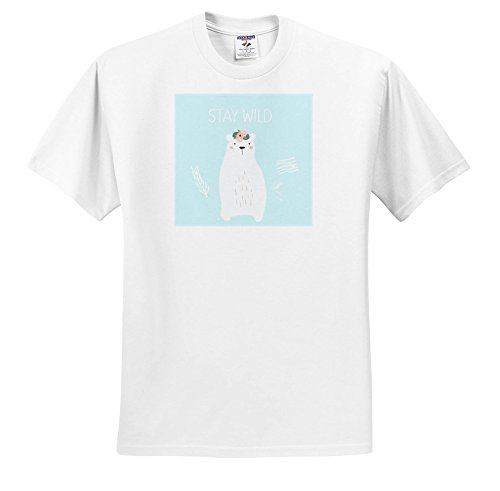 Trendy Youth T-shirts (3dRose Uta Naumann Watercolor Illustration Animal - Stay Wild-Trendy Cute Teal Scandi Winter Animal White Bear Typography - T-Shirts - Adult T-Shirt XL (TS_274961_4))