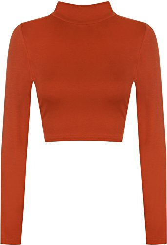 WearAll Womens Turtle Neck Crop Long Sleeve Plain Top - Rust - US 8-10 (UK 12-14) -