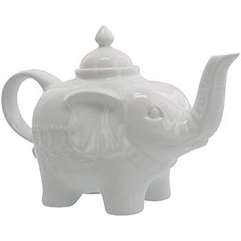 Grace Teaware Fine Porcelain Happy Elephant with Gold Trim 3-Piece Tea Set, Petite Floral Spray