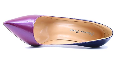 uBeauty Womens High Heels Pointed Toe Court Shoes Stiletto Slip On Work Pumps Patent Leather Or Suede 12cm Purple ET8p93