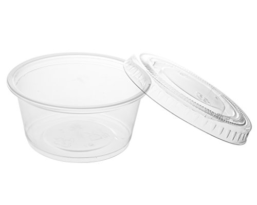 Crystalware Disposable 2oz. Plastic Portion Cups with Lids - Condiment Cup, Jello Shot, Souffl� Portion, Sampling Cups, 100 Sets ? Clear
