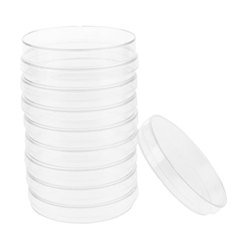 Homyl 10 Sets Petri Dishes Glass Sterile Cell Tissue Culture Dishes with Lids 60mm