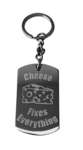 - Cheese Fixes Everything - Metal Ring Key Chain Keychain