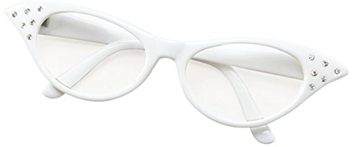 Ladies 50s Style Rock N Roll Dame Edna Specs Fancy Party White (Dame Edna Costumes)