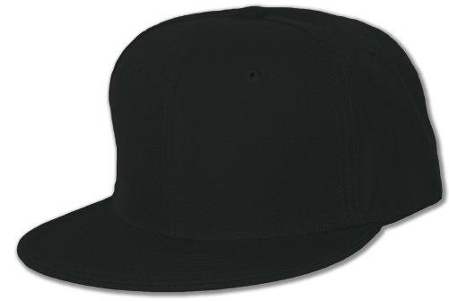 Blank Flat Bill Baseball Hat (More Colors Available), 7 3/8-Black - Black Flat Fitted Baseball Cap