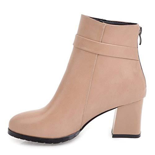 Stivali Stivali Stivali Tacco Donna Cerniera Alta Alta Alta Caviglia COOLCEPT Apricot A Corti Blocco aIA4q
