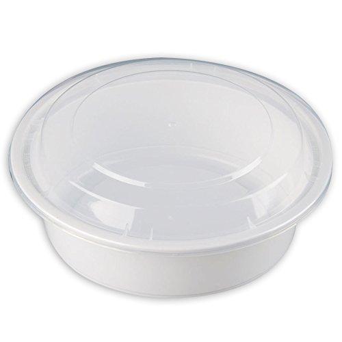 Safepro 32 oz blanco redondo recipiente para microondas con ...