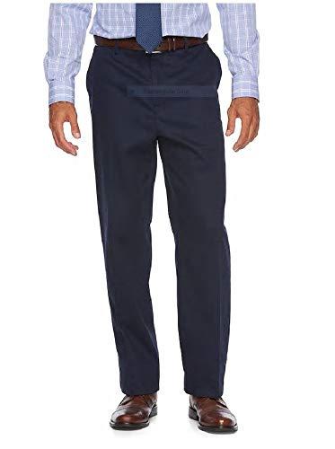 Men's No Iron Stretch Flat Front Khaki Pants (Navy, -