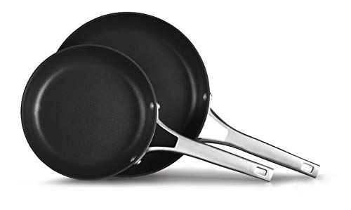 Calphalon 2029637 Premier Hard-Anodized Nonstick 2-Piece 8 10-Inch Frying Pan Set, 8/10 Combo, Black