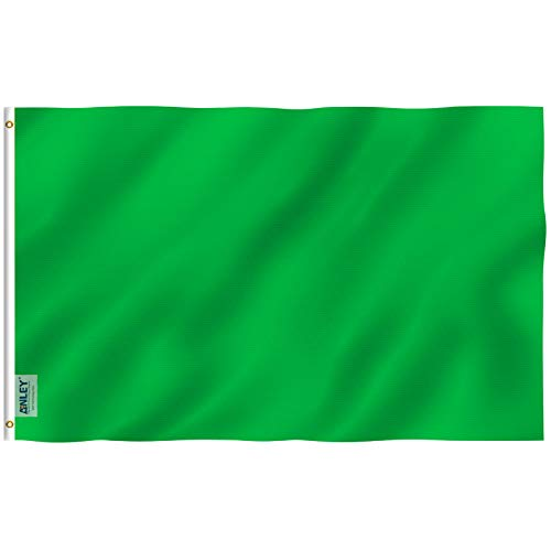 Anley Fly Breeze 3x5 Foot Solid Green Flag - Vivid Color and UV Fade Resistant - Canvas Header and Double Stitched - Plain Green Flags Polyester with Brass Grommets 3 X 5 Ft ()