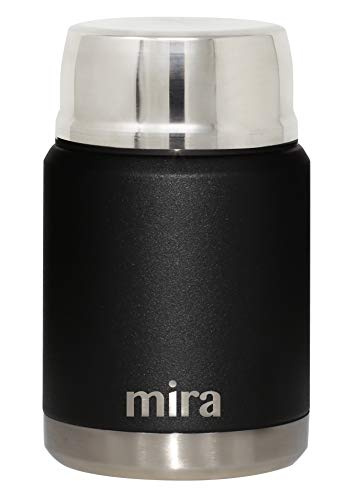 MIRA Lunch, Food Jar | Vacuum Insulated Stainless Steel Lunch Thermos with Portable Folding Spoon | 17 oz (500 ml) | Black