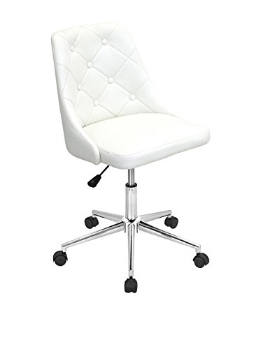 WOYBR OFC W Pu, Foam, Chrome Marche Office Chair, 24Lx22.75Wx35H, Eggshell Off White