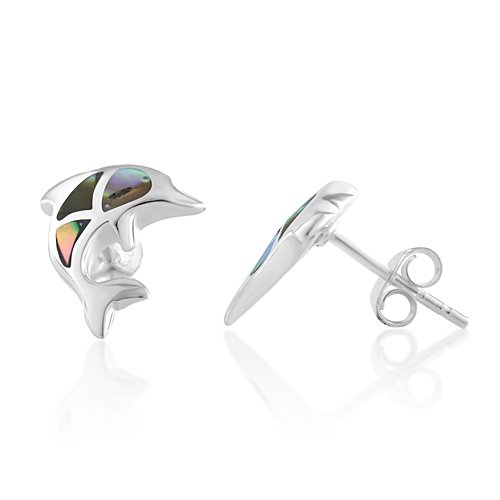 Silver Shell Post (925 Sterling Silver Abalone Shell Dolphin Porpose Fish Post Stud Earrings)