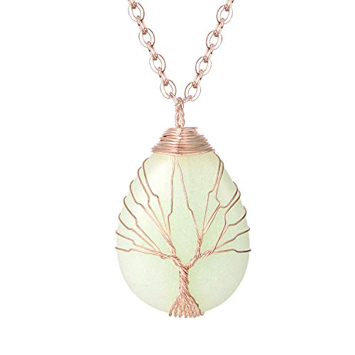 sedmart Water Drop Shape Glow in The Dark Pendent Luminous Necklace Rose Gold Plated Wire Wrapped Pendent Shiny Jewelry for Women
