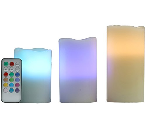 Amazon #LightningDeal 67% claimed: Homemory Color Changing Flameless Flickering Pillar Candles with Remote Control and Timer, Battery Operated, Set of 3, Ivory Wax, Vanilla Scented