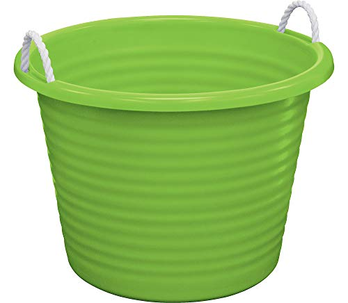 (United Solutions Kiwi Plastic Tub with Rope Handles, 17gal, 22