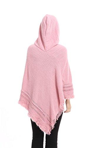 Femme Couleur Unie Extra Grand Encapuchonné Évider Ponchos Cape Wrap Avec Des Glands(Rose)
