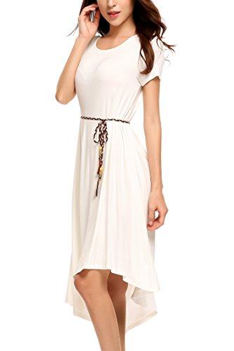 Shirt White Length Beyove with Round Neck Women's Asymmetric T Casual Dress Knee Belt 7Yr8Ox7w