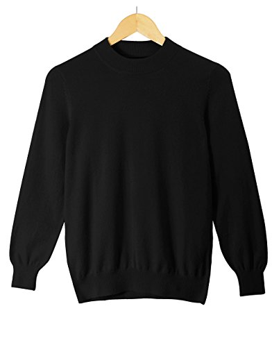 CHARXI Men's Double Pure Cashmere Long Sleeve Mock Neck Pullover Sweater-Black,XXL