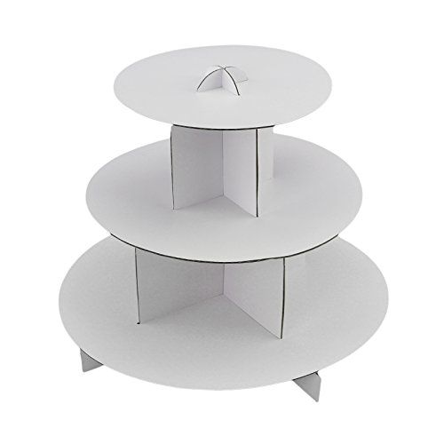 (Tytroy 3 Tier White Round Cardboard Cup Cake Holder Stand Dessert Tower Pastry Serving Platter)