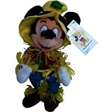 """Retired Disney Mickey Mouse Clubhouse Halloween Fall Classic Scary Farmer Scarecrow 9"""" Plush Mickey Mouse Bean Bag Doll New with Tags"""