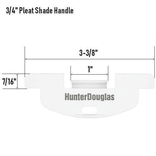 HunterDouglas Bottom Rail Handle for Cordless Cellular Honeycomb LiteRise Shades (Pack of 2) (White, 3/4 Inch Pleat)