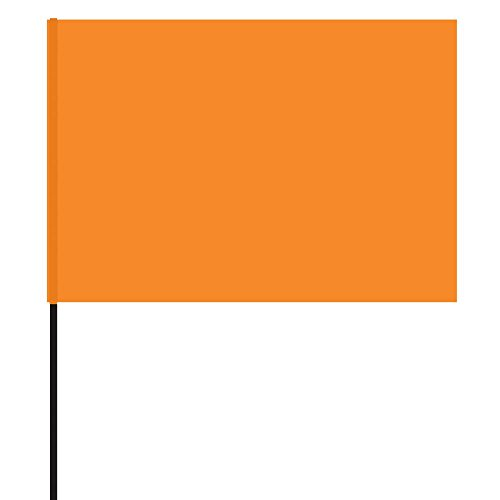 Vinyl Stake Flags with Wire Stakes, Bundle of 100 Oversize Marking Flags (Orange) ()