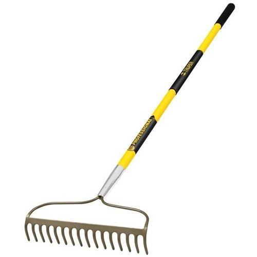 Truper 31380 Tru Pro 60-Inch 16 Teeth Forged Bow Rake, Fiberglass Handle, 10-Inch Grip ()
