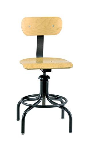 (Bevco Maple Plywood Chair w/4-legged Round Black Tubular Steel Base w/Welded Footring )