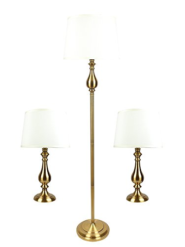Urbanest McKinley 3-piece Table and Floor Lamp Set in Antique Gold with Eggshell Silk Shade by Urbanest