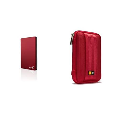 Seagate Backup Plus Slim 2TB Portable Red and Caselogic HDD Case (2 Tb Seagate Backup Slim)