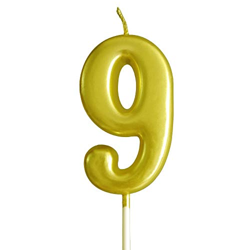 XNOVA Gold Number Candles Numbers 9th Nine Number 9 Champagne Candle Glitter Happy Birthday Numeral Cake Topper Decoration for Adults/Kids Party Old Birthday Candle 99 69 49 29 19 97 89