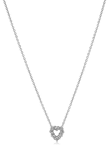 Roberto Coin Tiny Treasures 18k White Diamond Open Heart Pendant Necklace (1/10cttw, G-H Color, SI1 Clarity) (/ Coin Diamond 18k Roberto Necklace)