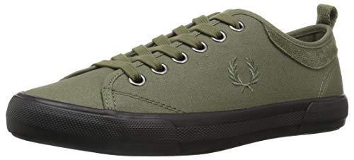 Fred Perry Men Horton Waxed Canvas/Suede Sneaker Burnt Olive