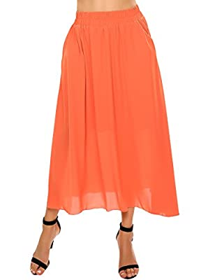 Zeagoo Womens High Elastic Waist Chiffon Pleated Long Maxi Skirts with Pockets