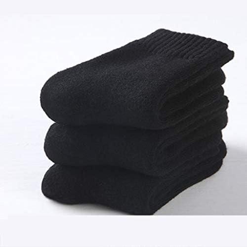 厚手の靴下秋と冬の女性の暖かい綿の靴下プラスベルベット厚いウールソックス3ペア/ピンクと黒 QDDSP (Color : B)