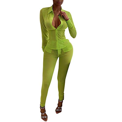 - Salimdy Womens See Through Outfits Mesh Sheer Crew Neck Bodycon Two Piece Outfits Beach Cover Up Green XL