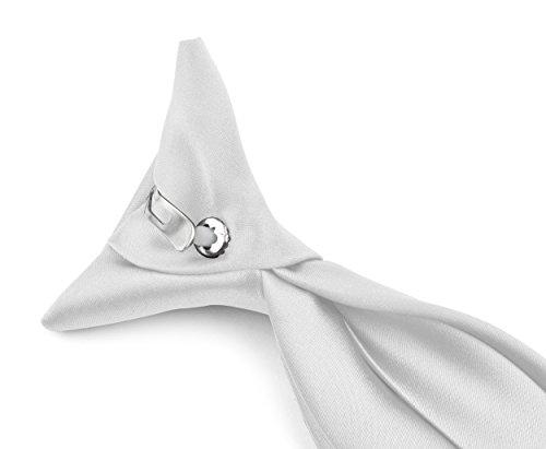 Moda Di Raza - Boy's NeckTie Solid Clip on Polyester Tie - Boys' Kids' Children's Solid Color Boys Formal Wear Pre-Tied Polyester Clip Necktie - White ()