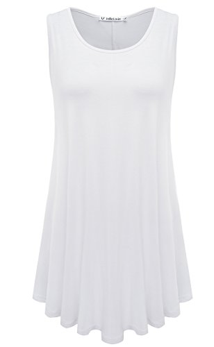 JollieLovin Women's Plus Size Sleeveless Solid Basic Comfy Summer Tunic Tank Top with Flare Hem - White, XL (1X)