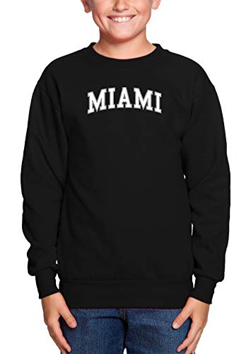 - HAASE UNLIMITED Miami - State Proud Strong Pride Youth Fleece Crewneck Sweater (Black, Large)