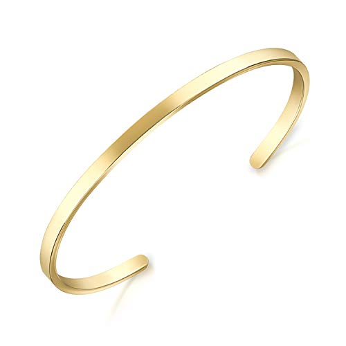 Lolalet Open Cuff Bracelet, 18K Yellow Gold Plating Couples Bracelets, Plain Polished Finish Cuff Bangle Jewelry Gift for Men Women -Gold
