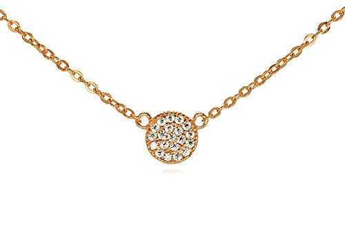 GlitterLounge Tiny CZ Pave Circle Disk Necklace .925 Sterling Silver Rose Gold Tone 16 – 18