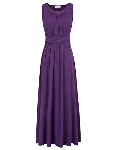 Cotton High Stretchy Long Maxi Dress for Women A line Size L Purple - Stretchy Dress Long Maxi