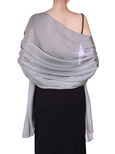 Boao Women Satin Scarves Long Shawl Wrap Light Soft Sheer Scarf for Wedding Party Everyday Accessory (Silver Grey)