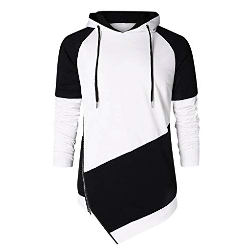 SFE Simple and Stylish Man Autumn Spring Patchwork Long Sleeve Hoodies Sweatshirt Blouse Casual wear Working Black]()