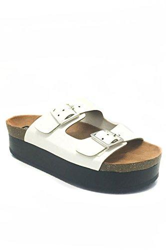 Due Cinturini Open Toe Con Plateau Piatto Sandalo Bianco Bianco