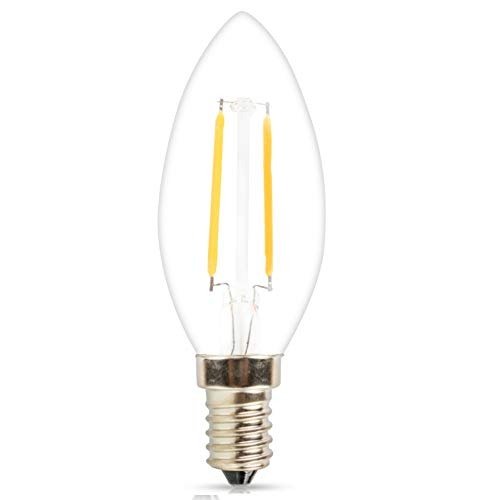 (Mengjay 1 Pack C35 110V 2W(15W Incandescent Equivalent) LED Candelabra Bulb, LED Filament Lamp, 2700K Warm White Light, Frosted Glass, E12 Small Base, Flame Tip)