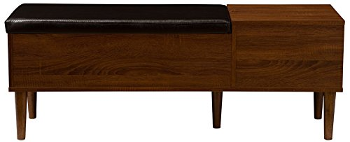 Baxton Furniture Studios Merrick Mid-Century Retro Modern 1 Drawer and Wood Cushioned Bench Shoe Rack Cabinet Organizer, Dark Brown - Contemporary Entryway Bench with Shoe Storage and Seat Engineered Wood with Oak and Espresso Wood Grain-Effect Paper Veneer Dark Brown Faux Leather Seating Cushion - entryway-furniture-decor, entryway-laundry-room, benches - 31IXr1PAbzL -