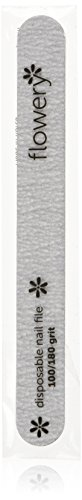 Flowery Disposable Nail File Cushion Core 100/180 Grit, Silver, Pack of 100